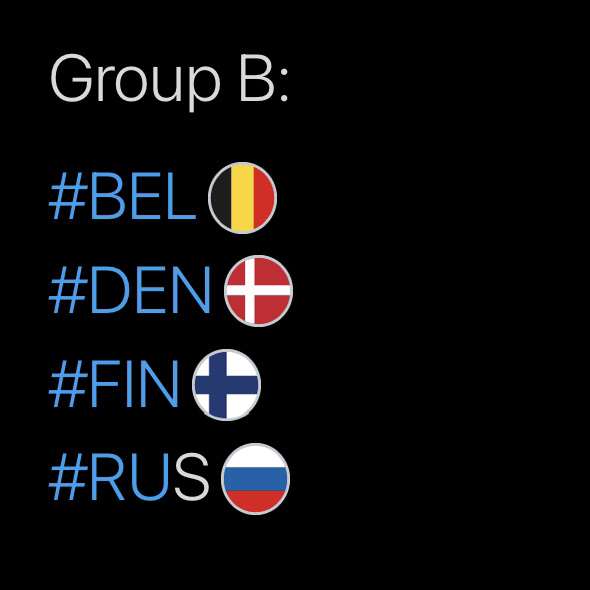 Group B, Hashtags