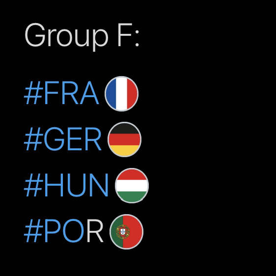 Group F, Hashtags
