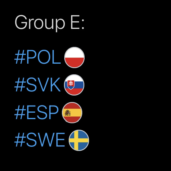 Group E, Hashtags