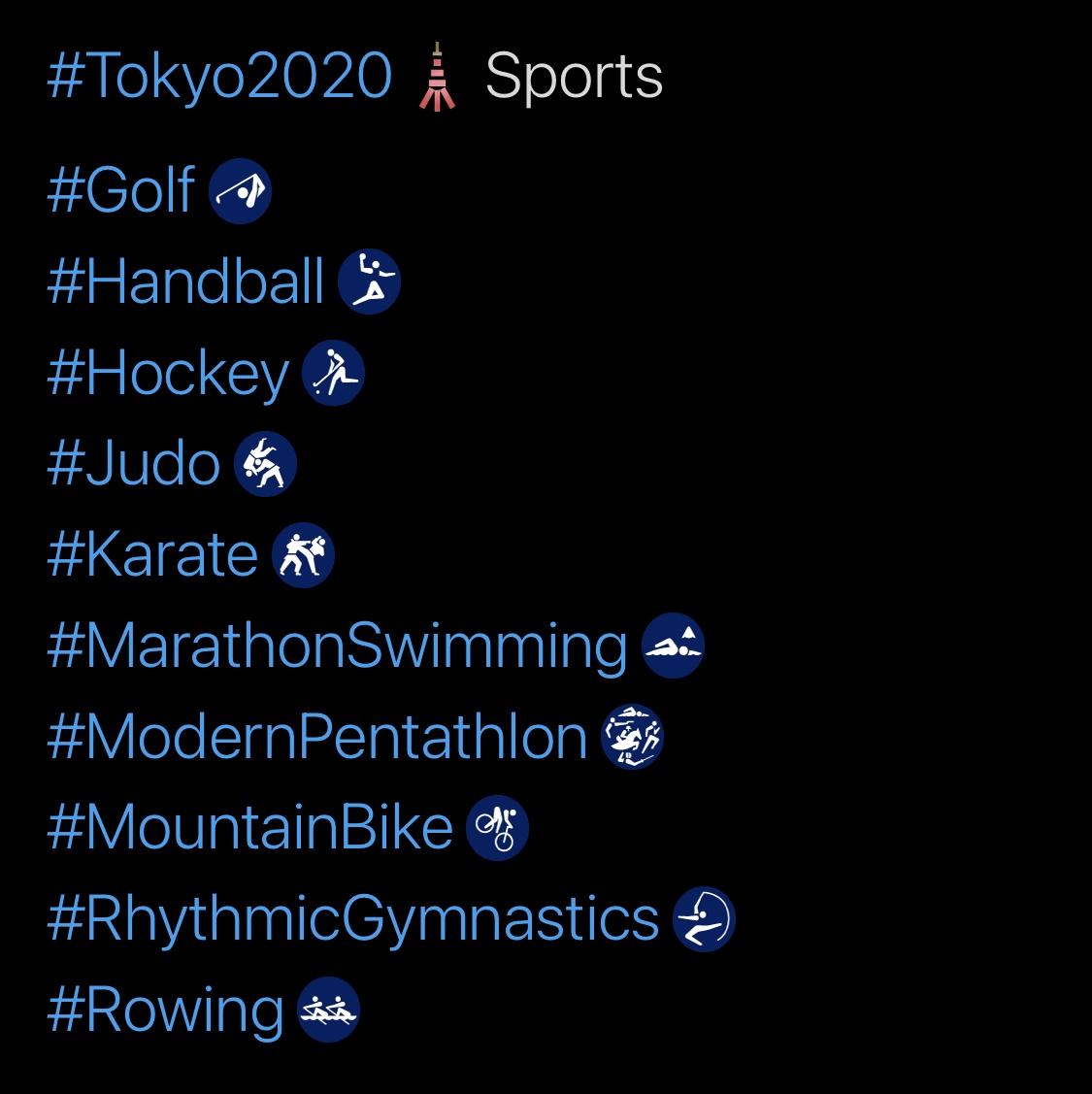 Tokyo 2020 Olympics Hashtags, Sports