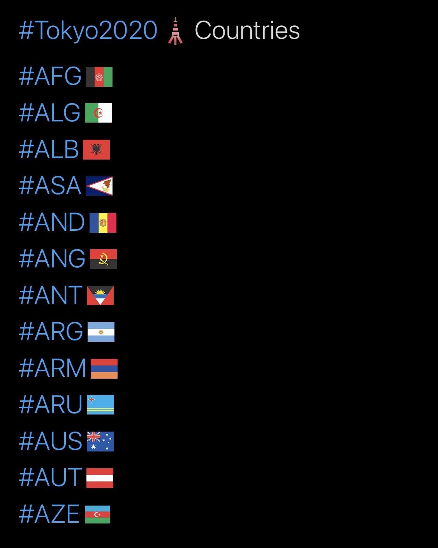 Tokyo 2020 Olympics Hashtags, A