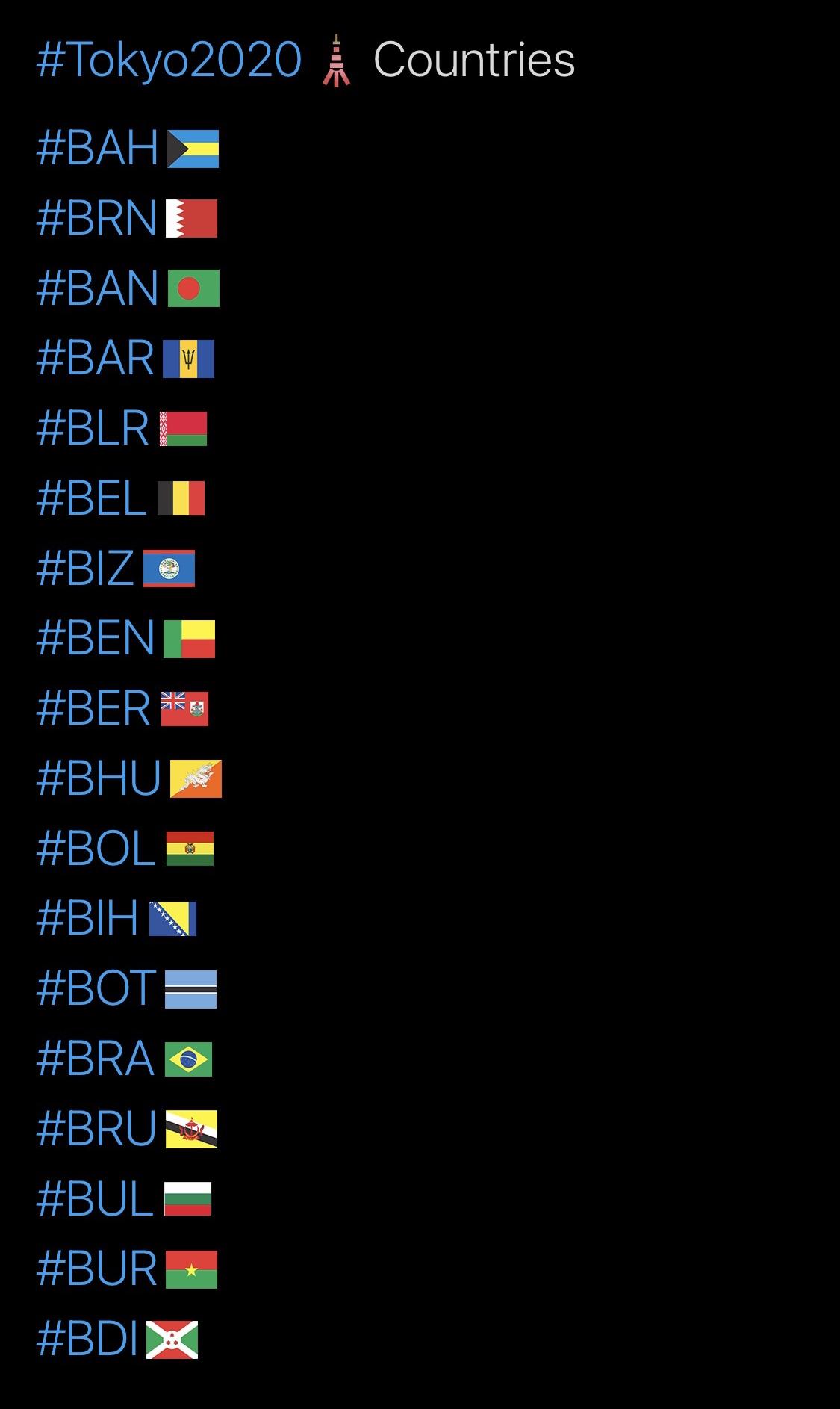 Tokyo 2020 Olympics Hashtags, B