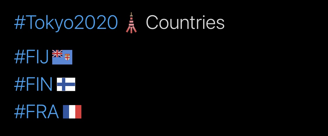 Tokyo 2020 Olympics Hashtags, F