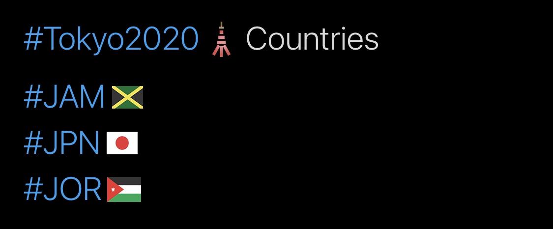 Tokyo 2020 Olympics Hashtags, J