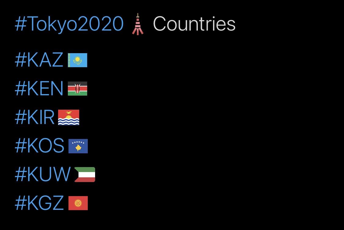 Tokyo 2020 Olympics Hashtags, K