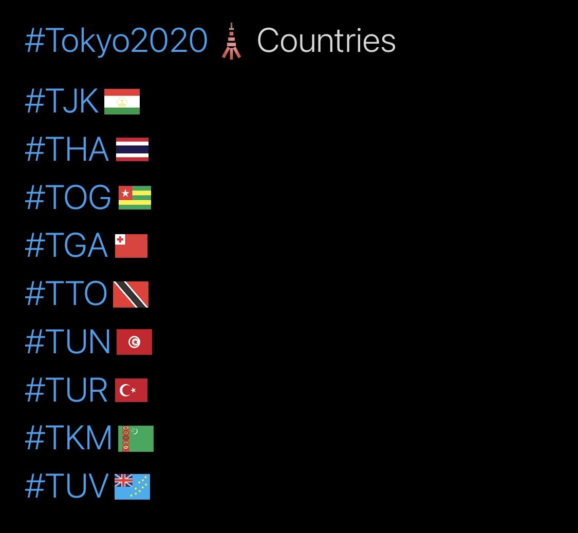 Tokyo 2020 Olympics Hashtags, T