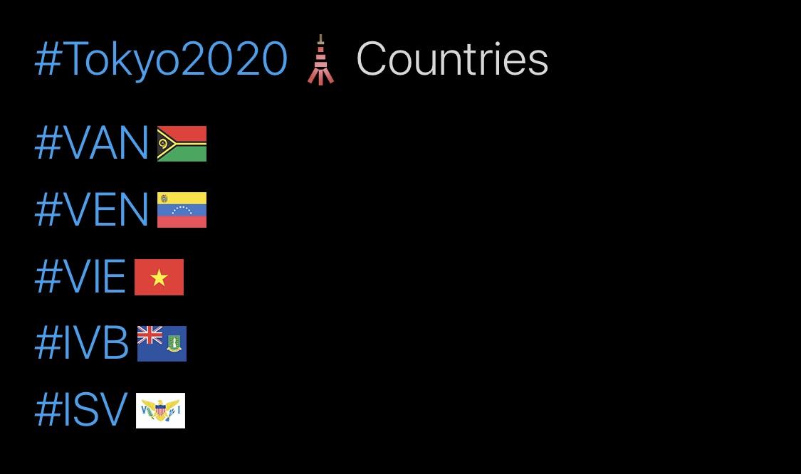 Tokyo 2020 Olympics Hashtags, V